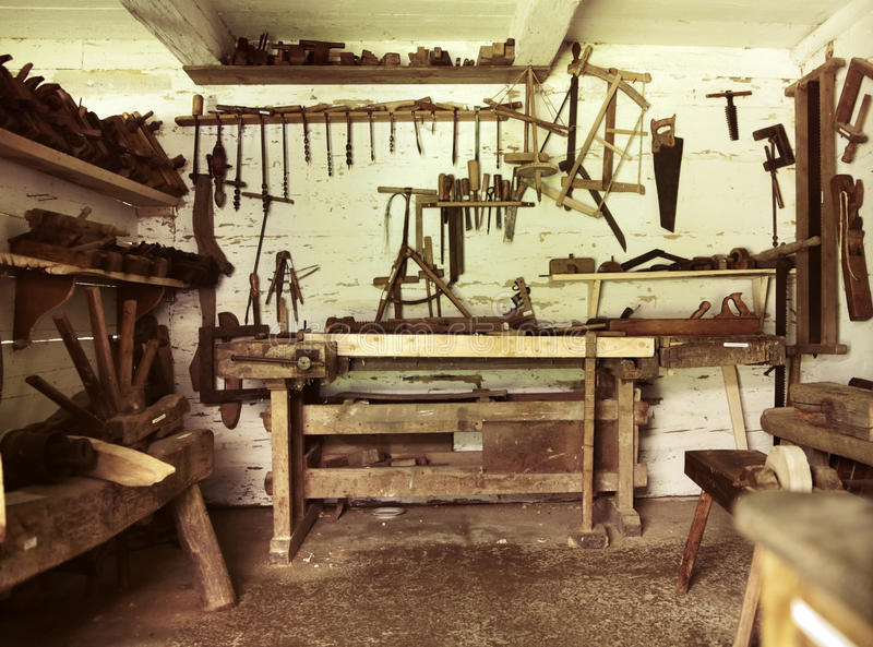 An old repair room in rustic house. An old repair room in rustic wooden house stock images