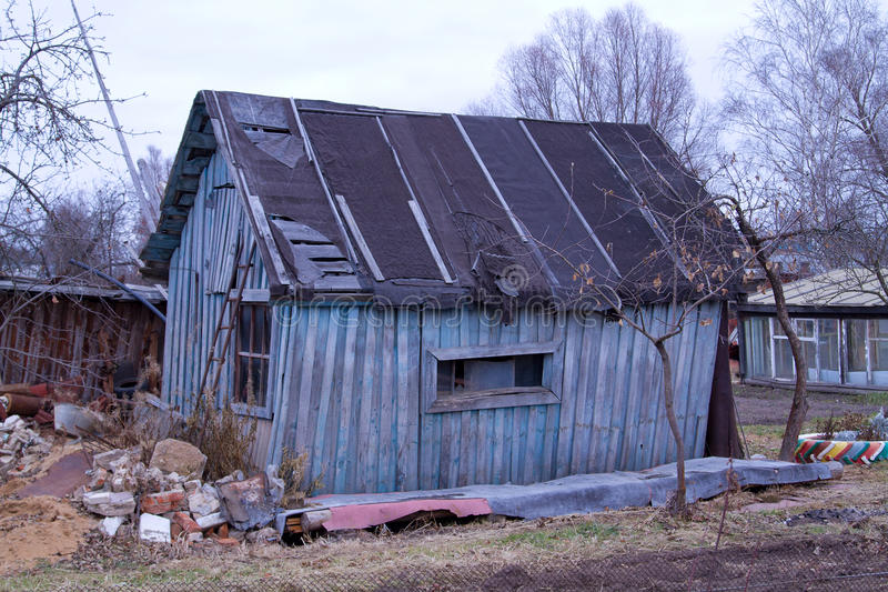 Old rickety house. Old house in the Russian outback. The house needs repairs stock images