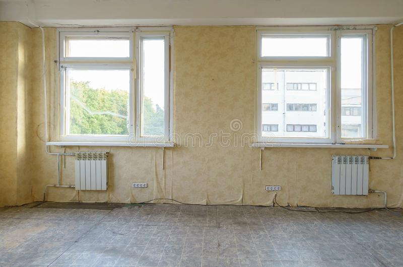 Room in the apartment that needs repair. Old room in the apartment that needs repair royalty free stock photos