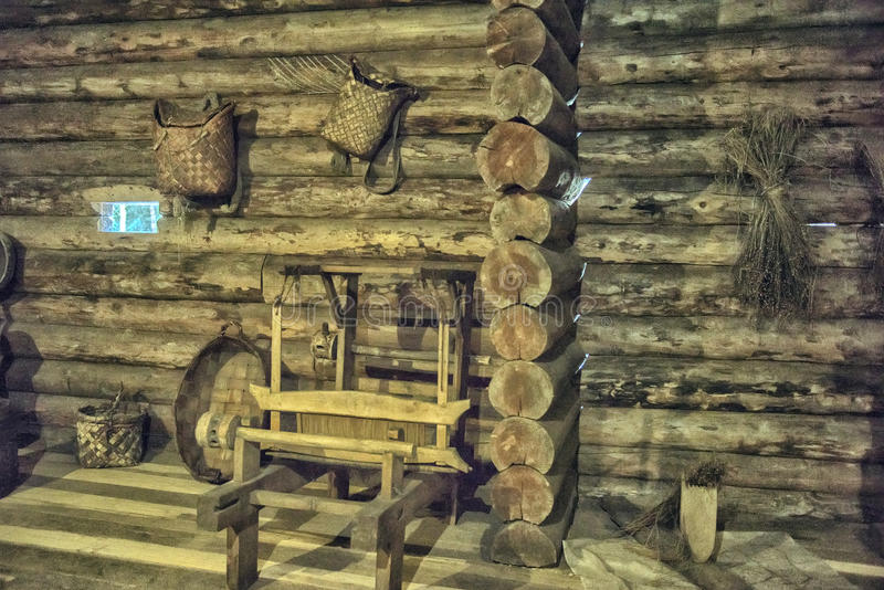 Old Russian log hut. Inside stock photo
