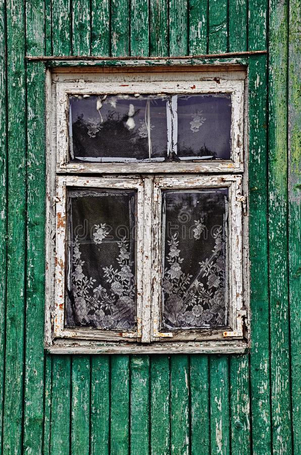 Old windows of the rural house royalty free stock photos