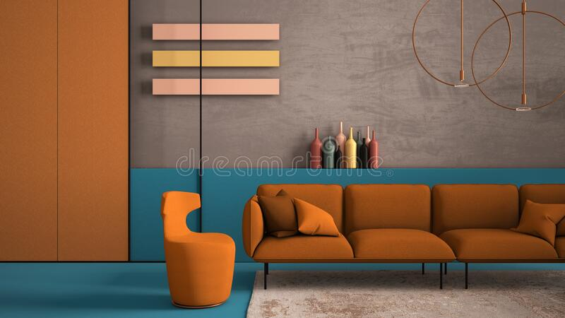 Orange and light blue colored contemporary living room, pastel colors, sofa, armchair, carpet, concrete walls, panels, copper lamp. Interior design atmosphere stock photo