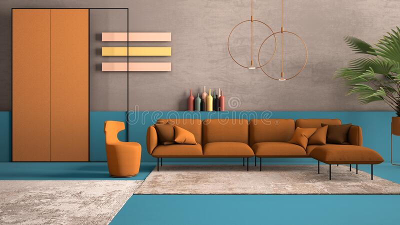 Orange and light blue colored contemporary living room, pastel colors, sofa, armchair, carpet, concrete walls, potted plant,. Copper lamp. Interior design royalty free stock photo