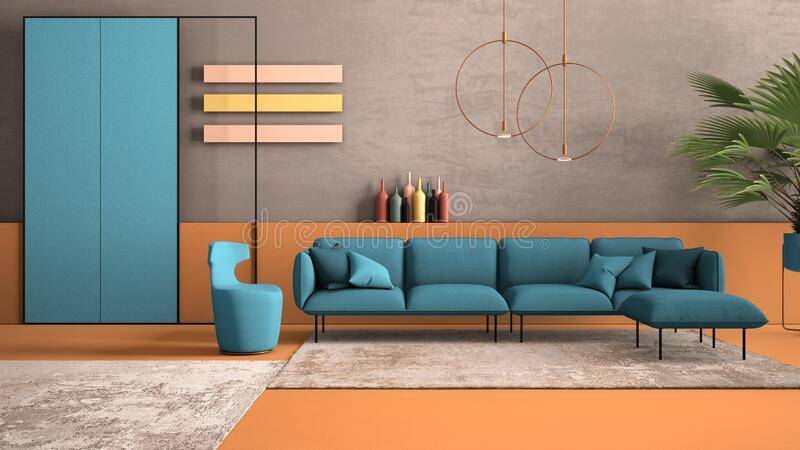 Orange and light blue colored contemporary living room, pastel colors, sofa, armchair, carpet, concrete walls, potted plant,. Copper lamp. Interior design royalty free stock images