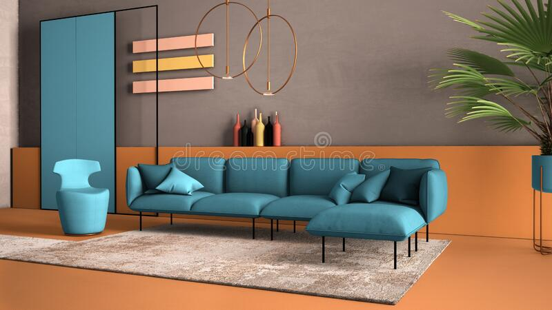Orange and light blue colored contemporary living room, pastel colors, sofa, armchair, carpet, concrete walls, potted plant,. Copper lamp. Interior design royalty free stock photography