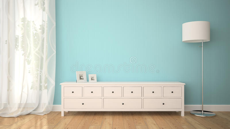 Part of interior with cabinet and lamp royalty free stock photography