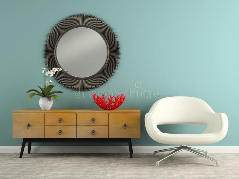 Part of interior with stylish consol and armchair 3D rendering stock photography