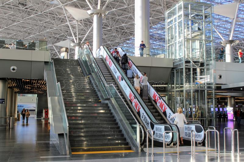 Passenger lift and stairs to the second floor at Vnukovo International Airport Moscow - July 2017.  stock images
