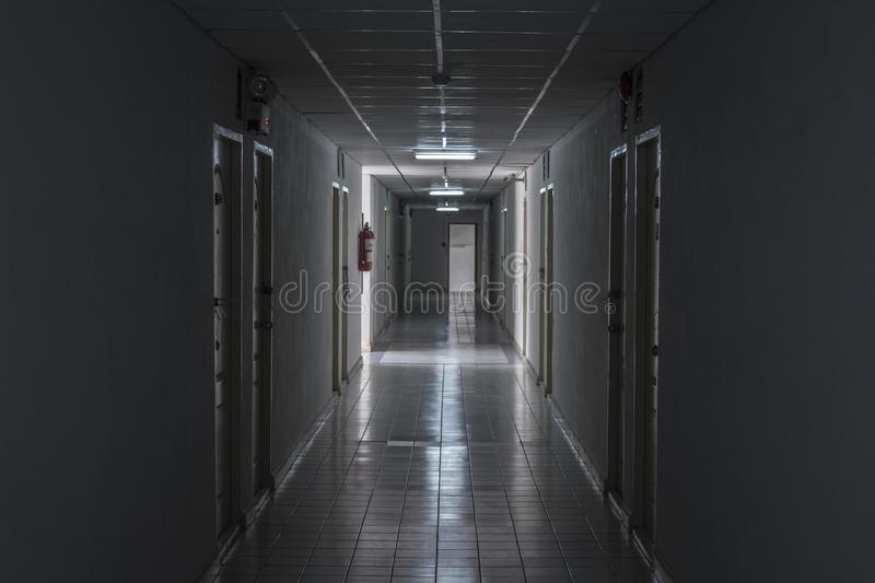 The path in the hotel is full of darkness. stock photo
