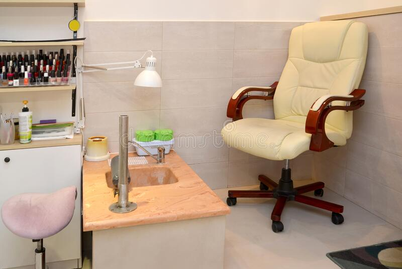 Pedicure room in a beauty salon stock photography