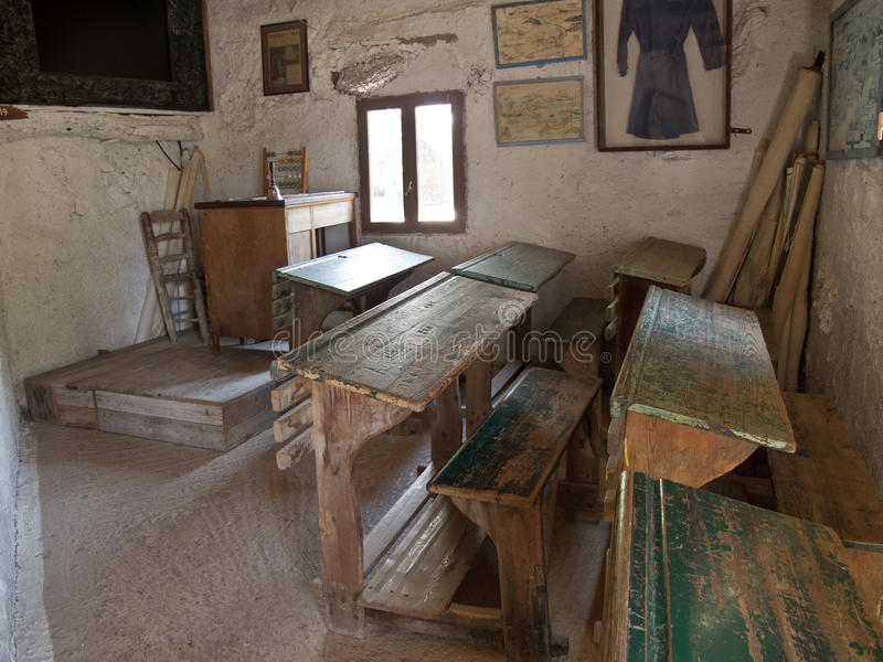 Photo of an old classroom old Greek primary school. Old Greek primary school. Crete, Greece stock photography