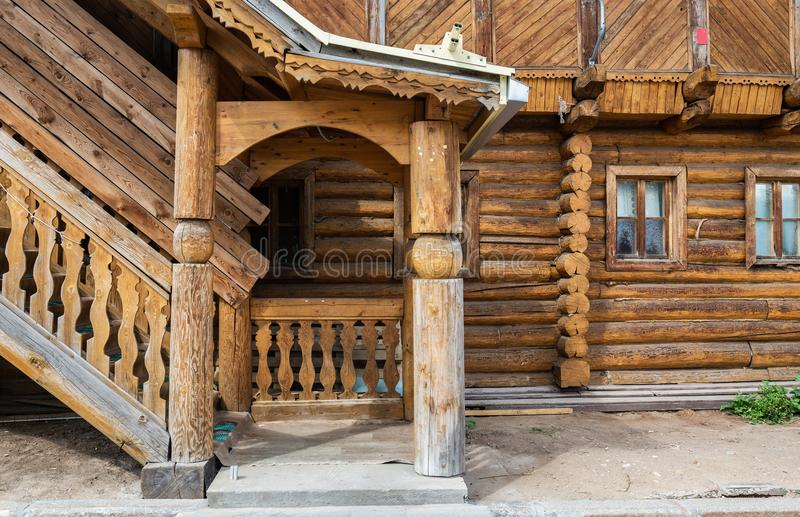 Porch at the entrance to the log house. Russian architecture stock images