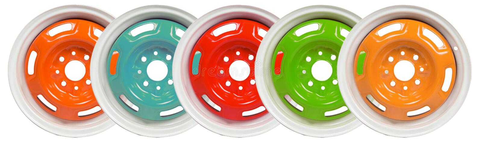 Powder coating of wheel disks stock images