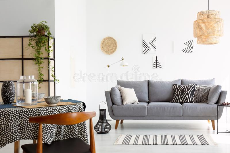 Real photo of a bright and cozy living room interior with patter royalty free stock photography