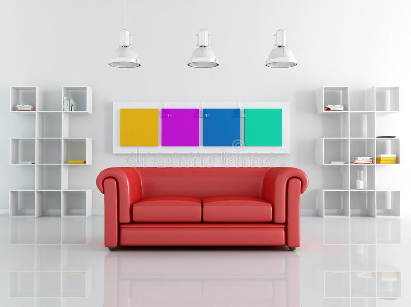 Red leathe sofa in a white living room vector illustration