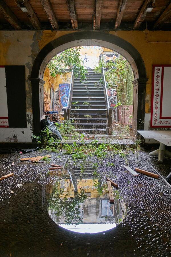 Reflection of stairs inside an abandoned house in Funchal, Madeira. In Portugal royalty free stock photography