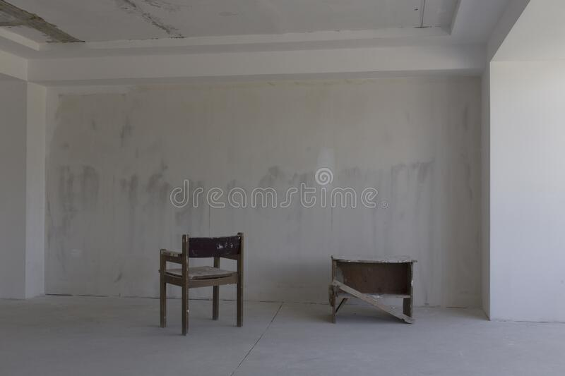 Repair of the room. There is empty room with the repair unfinished stock photo