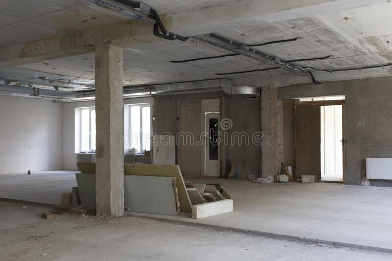 Repair of the room. There is empty room with the repair unfinished royalty free stock photos