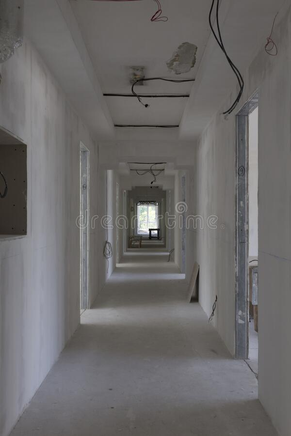 Repair of the room. There is empty room with the repair unfinished stock image
