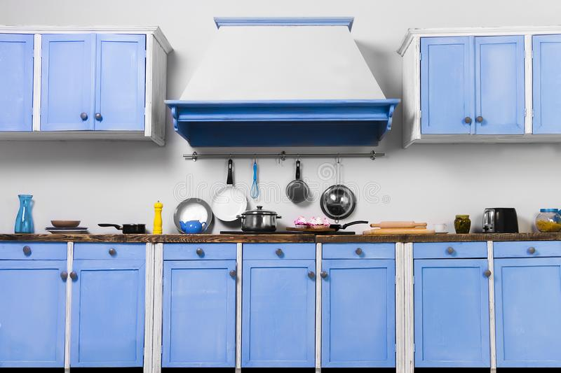 Retro old vintage pin up blue interior kitchen royalty free stock photos