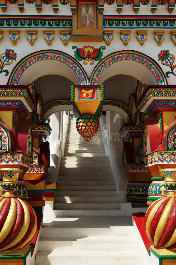 Richly decorated porch in the Russian style stock photography
