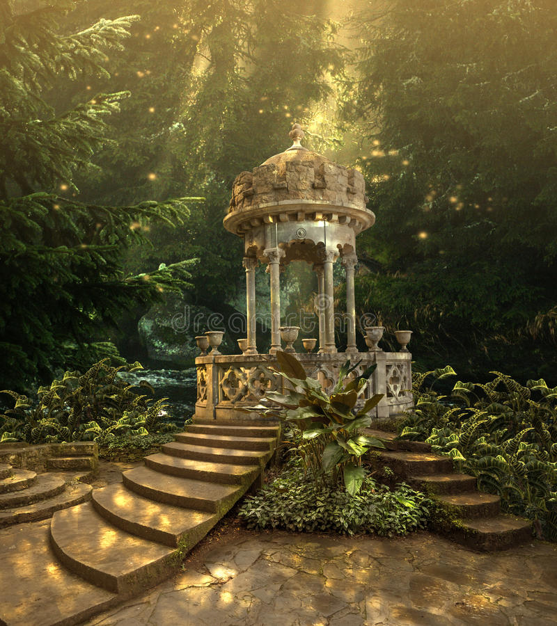 Romantic Fairytale Gazebo in Magical Forest Fantasy Background- 3D illustration vector illustration