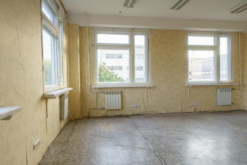 Room in the apartment that needs repair. Old room in the apartment that needs repair royalty free stock photography