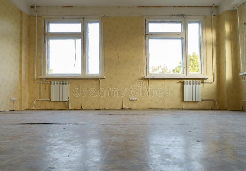 Room in the apartment that needs repair. Old room in the apartment that needs repair royalty free stock photo