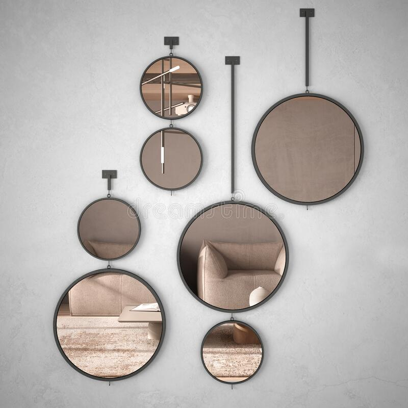 Round mirrors hanging on the wall reflecting interior design scene, minimalist living room in beige tones with wooden and concrete stock image