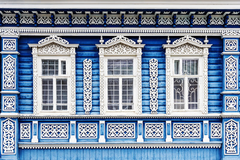 Russian house facade with frames.  stock image
