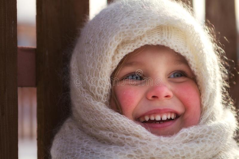 Russian style. Beautiful little girl in shawl stock image