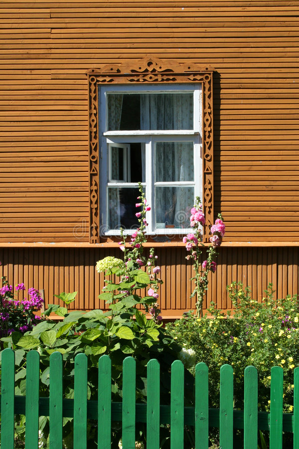 Russian style house. And garden in Estonia stock photo