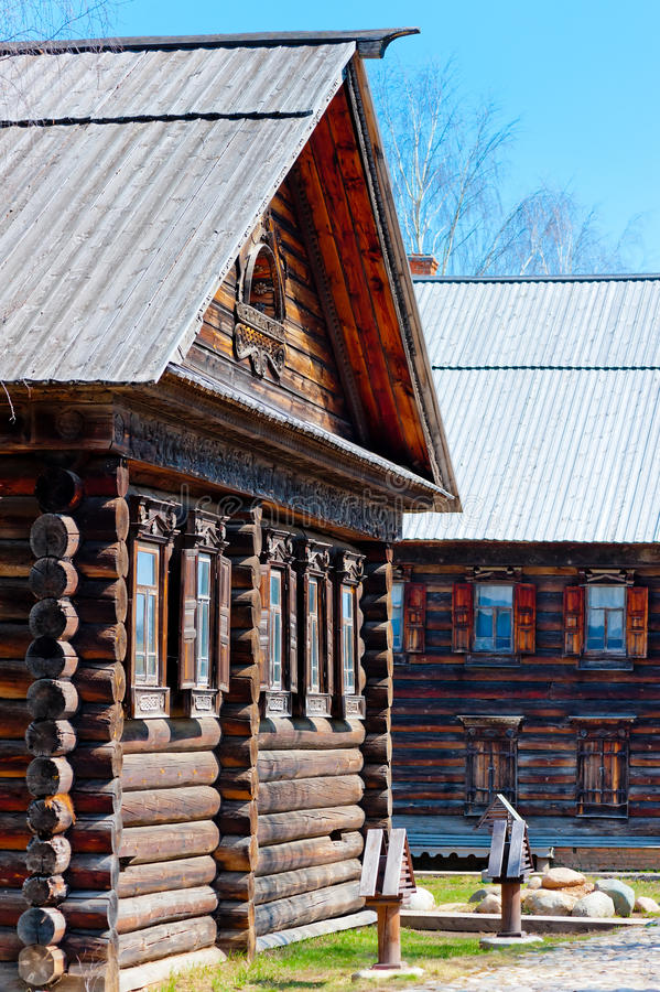 Russian wooden hut in old style. Russian wooden hut in the old style royalty free stock image
