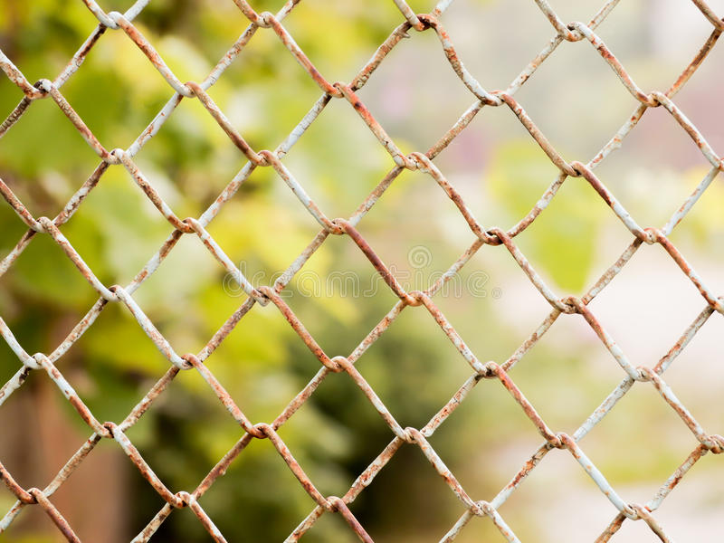 Rusty colored mesh netting. The metal fence.  royalty free stock photo