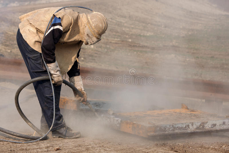 Sandblasting stock photography