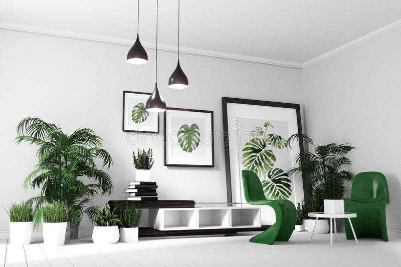 Scandinavian Living room interior - room modern tropical style with composition - minimal design. 3D rendering stock illustration