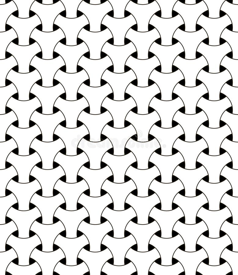 Seamless geometric mesh pattern vector illusion triangular mesh netting black and white circles with volumetric effect. Seamless geometric mesh pattern, vector stock illustration