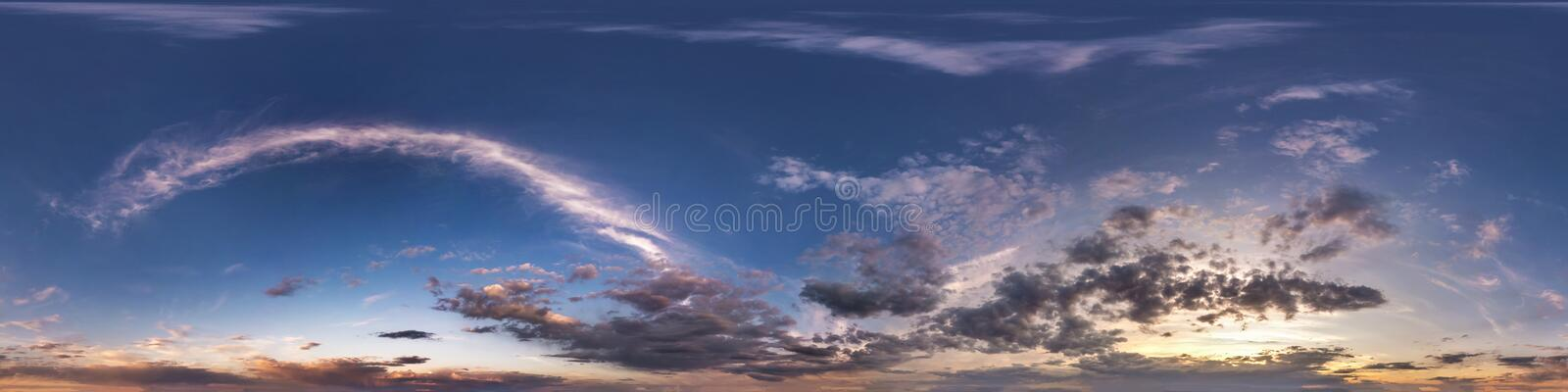 Seamless hdri panorama 360 degrees angle view blue evening sky with beautiful clouds before sunset with zenith for use in 3d stock photos