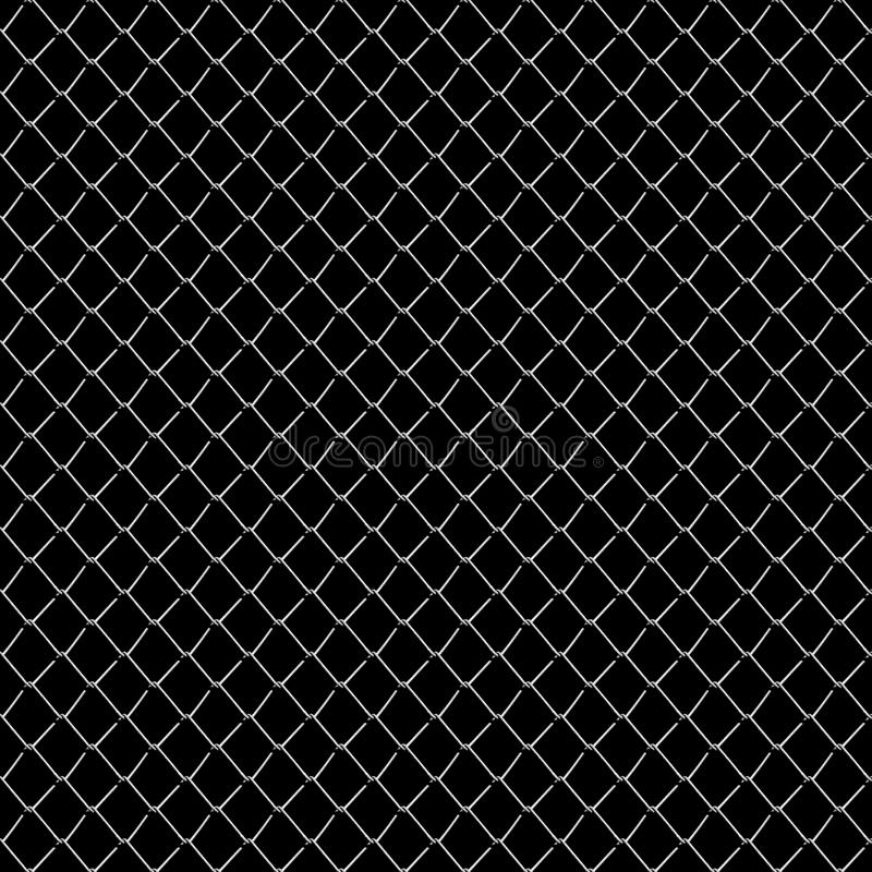 Seamless mesh netting on black background. Seamless chainlink fence on black vector illustration