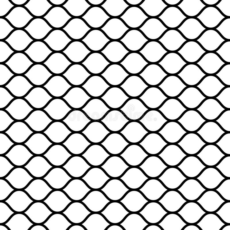 Seamless mesh netting with curved wavy lines bars vector grid netting for sports ball games. Seamless mesh netting with curved wavy lines bars, vector grid stock illustration
