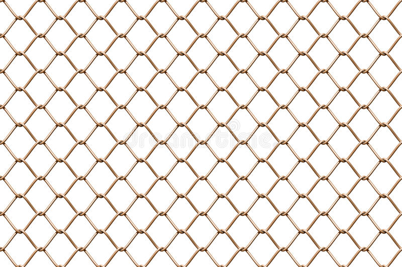 Seamless mesh netting on white background. Seamless chainlink fence on white stock illustration