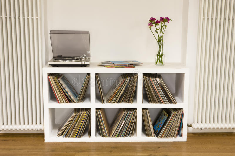 Shelf With Vinyl Records royalty free stock image