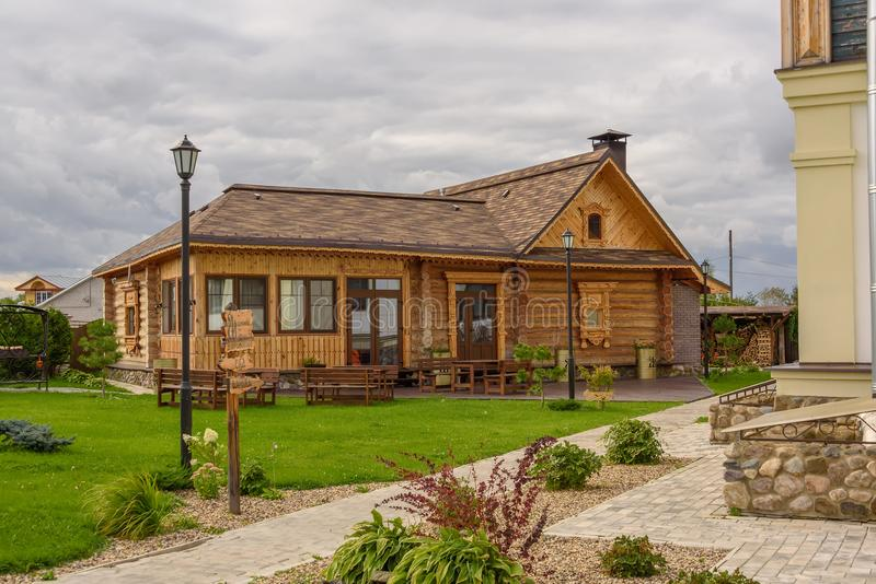 Small modern wooden house in the Russian style. Suzdal, Russia 2017.  stock image