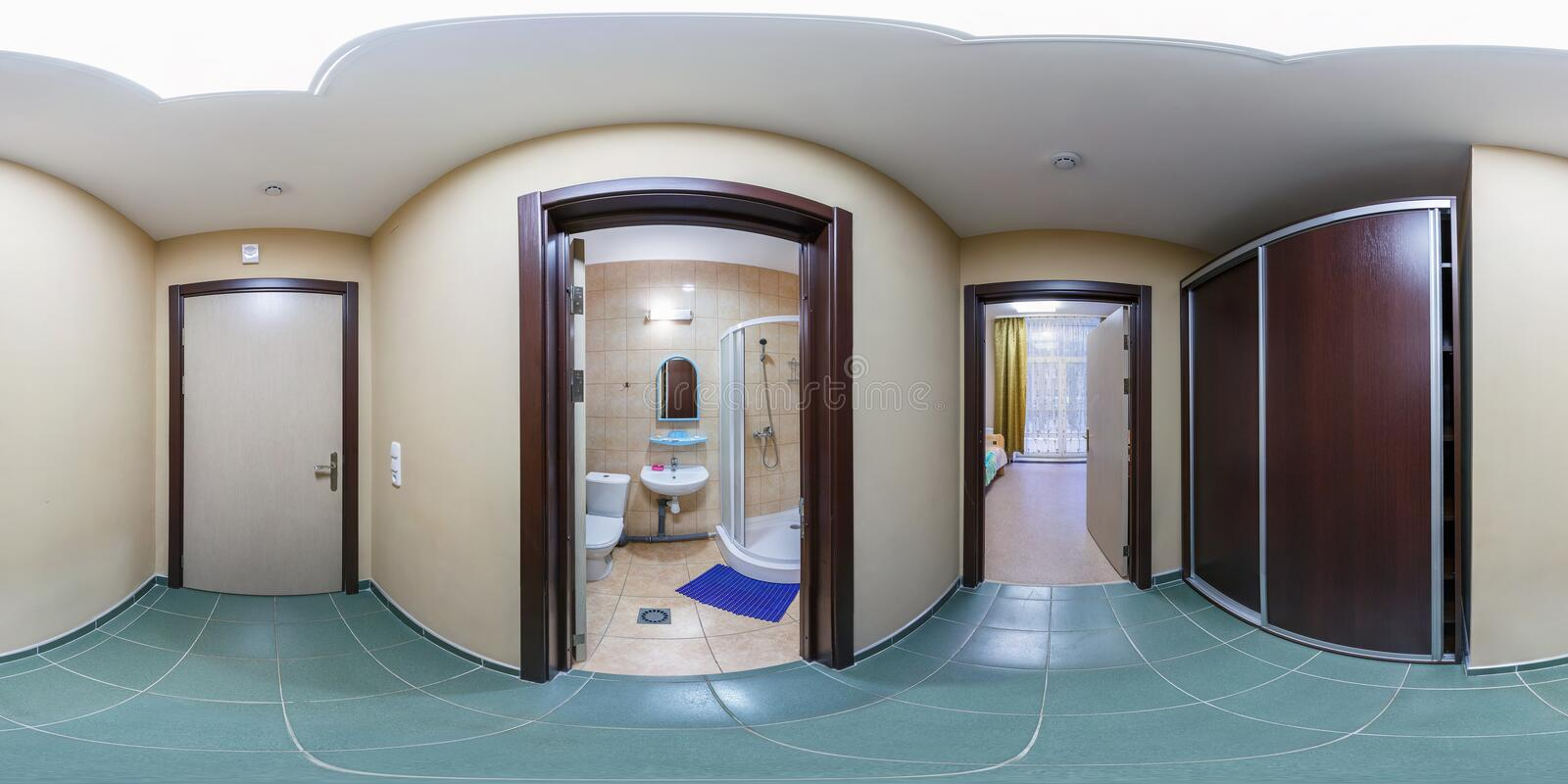 SOLIGORSK, BELARUS - SEPTEMBER, 2013: full seamless spherical panorama 360 degrees in corridor rooms of small hotel with view of royalty free stock photography