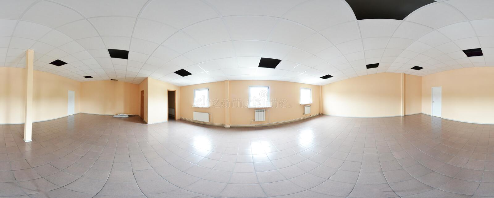 Spherical 360 degrees panorama projection, panorama in interior empty room repair decoration in modern flat apartments. stock image
