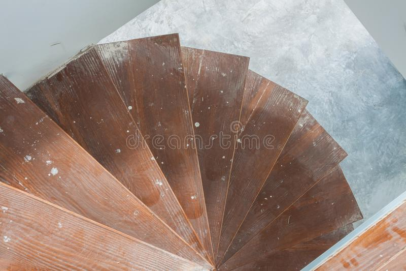 Spiral staircase inside house stock image