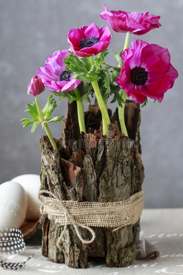 Spring table decoration with bark and anemone flowers. Festive decor stock image
