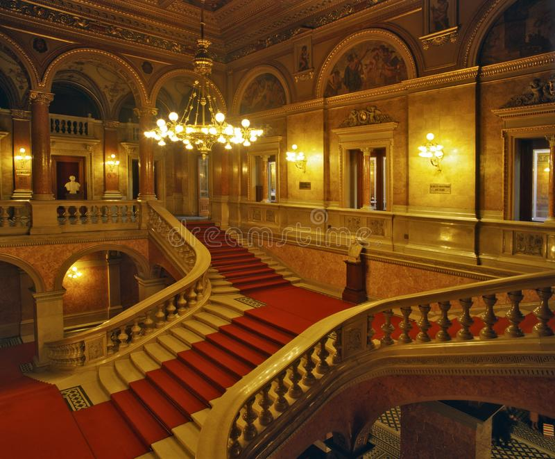Stairs inside the Hungarian State Opera House. Neo-Renaissance opera house located in central Budapest, on Andrássy út, Hungary stock photo
