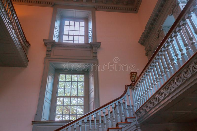Stairs inside of Independence Hall in Philadelphia Pennsylvania. As seen on a tour royalty free stock photography