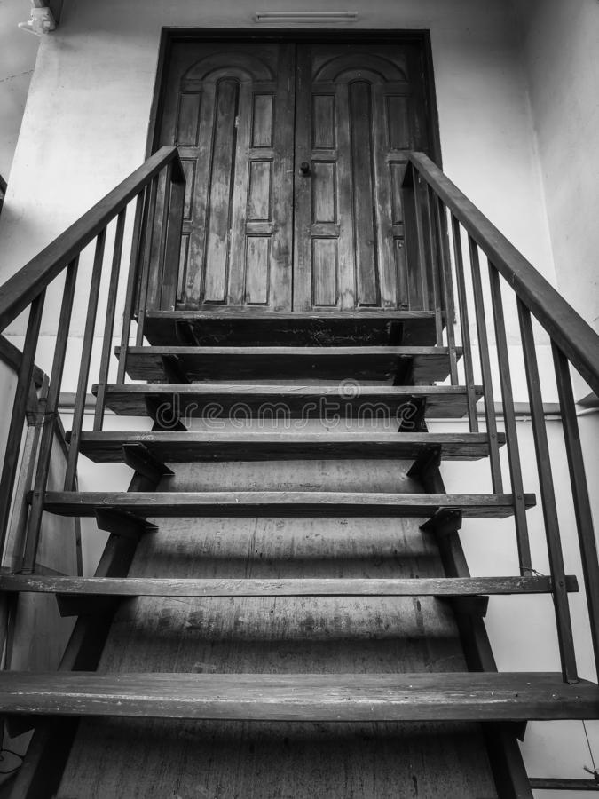 Stairs to the second floor Of a house in Thailand stock images